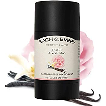 Each & Every Natural Aluminum-Free Deodorant for Sensitive Skin with Essential Oils, Plant-Based Packaging, Rose & Vanilla, 2.5 Oz.