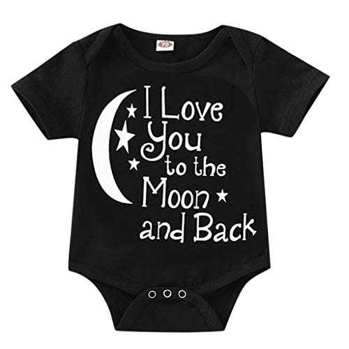 Swyss Newborn Baby Boy Girls Letter Printed Rompers Bodysuit Outfits Clothes, I Love You to The Moon and Back(Black,18-24 Months)