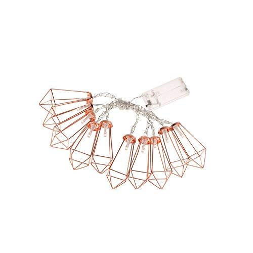 Tenlacum Guirlande lumineuse géométrique à 10 LED avec cristaux roses dorés à piles Idéal pour Noël, fête, mariage 1,5 m
