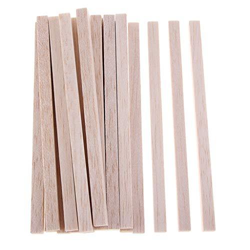 IPOTCH Quadratischer Balsaholz Stab Holzstäbchen Holzstücke Holzstamm Für Modell DIY Handwerk - Holz, 20 Stück 150mm