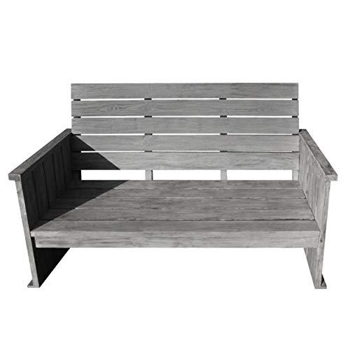 STRANDGUT07 - Banco de jardín Lounge de madera de teca, gris lavado