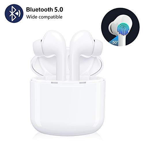 Wireless Bluetooth 5.0 Earbuds, 16 Hours TWS Portable Touch Control Wireless Earphones Hands Free Mini Noise Cancelling in-Ear Headphones with Mic and Charging Case for iPhone Android Samsung
