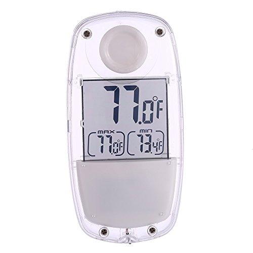 PETSOLA Solar Thermometer Innen Außen LCD Fensterthermometer Garten