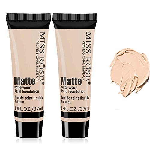 Miss Rose Matte Wear Liquid Foundation, 37ml Moisturizing Concealer Face Cream, 2 Pack Pore Concealer Primer Cream Waterproof (Beigh 3)