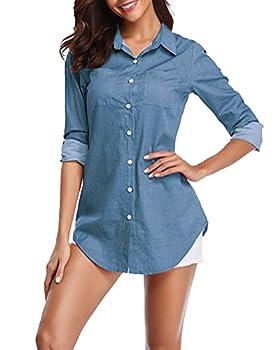 Fuinloth Women s Chambray Button Down Shirt Long Sleeve Cotton Blouse Long Jeans Tunic Top Blue Medium