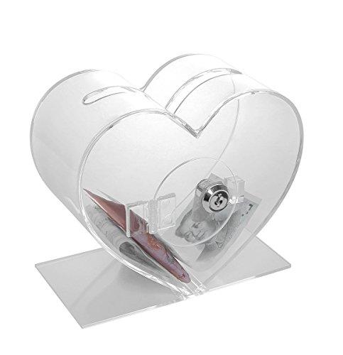 Scatola per donazioni ,acrilico Urna promozioni con serratura a forma di cuore per votazioni,trasparente,YGB-008