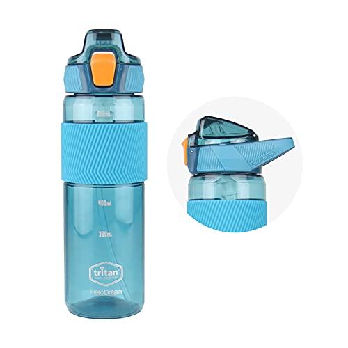 Botella de Agua con Pajita 750ml Sin Bpa PláStico Tritan No TóXico, A Prueba de Fugas Y Antideslizante Asa de Transporte de Silicona Y Medidas de Agua, Interior Al Aire Libre Deportes Camping(