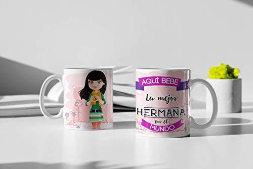 Taza de Desayuno Personalizadas y Divertidas para Las Hermanas. -Aquí Bebe La...