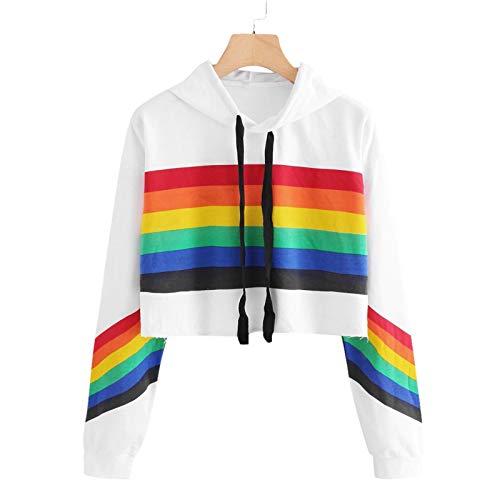 Damen Hoodie Pullover Kapuze Casual Sports Loose Rainbow Striped Sweatshirt Streetwear Casual Sweatshirts Tops Oberteil Lange Ärmel Beiläufig T-Shirt Mantel