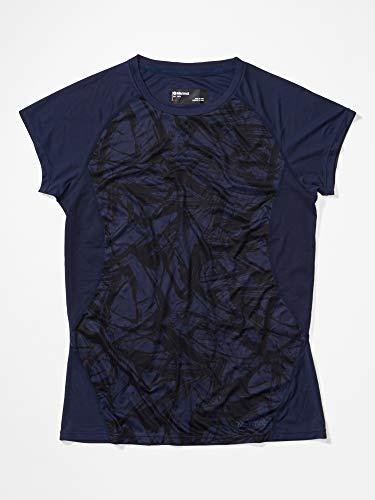 Marmot Wm's Crystal SS T-Shirt Manche Courte, Chemise de randonnée, Idéal pour Le Sport, la Gym, séchage Rapide, Respirant Femme Arctic Navy Race Line FR: L (Taille Fabricant: L)