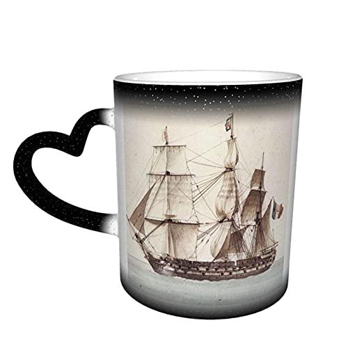 maichengxuan Taza de café unisex de viaje Francia náutica barco pirata vela personalizada sensible al calor color cambiante taza de té de leche taza de café mágico tazas