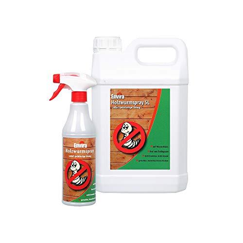 Envira Holzwurm-Spray - Holzwurm Ex Gegen Holzschädigende Insekten Mit Langzeitschutz - Auf Wasserbasis - 5Ltr+500ml
