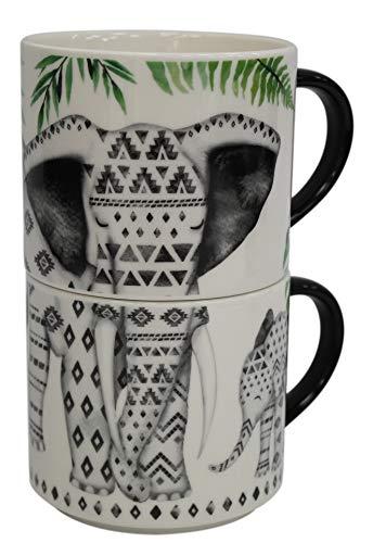 Zestaw 2 kubków do kawy Jumbo Bone China 500 ml możliwość układania w stos słoń dzika przyroda nadruk