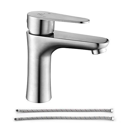 Grifo de baño Homelody, mango único, 1 agujero, montaje comercial, de acero inoxidable 304, para lavabo, de níquel cepillado, para lavabo de agua fría y caliente SD0104US