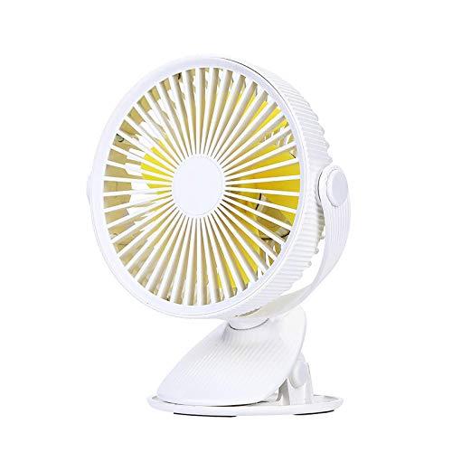 whmyz Ventilador recargable pequeño ventilador clip en el dormitorio estudiantil bebé cama pequeño escritorio ventilador blanco