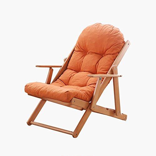 LYZZDY YxSD Chaise Longue avec Coussin Pliable en Bois pour Maison Canapé Fauteuil Canapé Cuisine Salon Orange