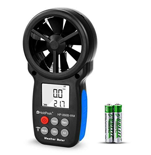 HoldPeak Anemometro Digitale Portatile HP-866B-WM, Con Display LCD Anemometro Professionale,Indicatore Barometro,Temperatura e Vento Freddo con Retroi