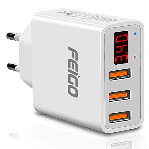 FEIGO Caricatore USB Multiplo Display Digitale, Alimentatore USB 3 Porte 5V 3.4A Carica Rapida, Caricabatterie USB da Muro per iPhone, iPad, Mac, Samsung, LG, HTC, Laptop, ECC.
