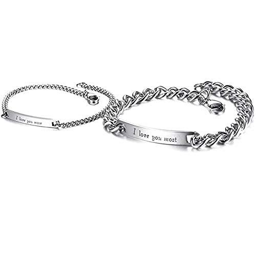 Pulsera de pareja, pulsera de pareja de acero inoxidable para hombres y mujeres Te amo más / más / regalos de pareja