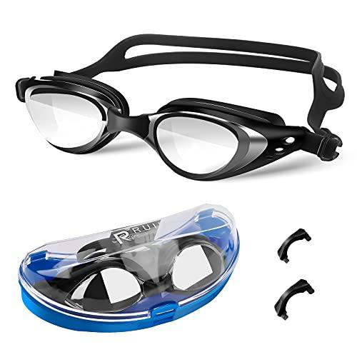 Schwimmbrille UV-Schutz Anti Nebel Kein Auslaufen Komfort Profi Schwimmbrillen mit Verstellbarer Silikonband Deutlich Anblick für Erwachsene Herren Damen und Kinder mit Aufbewahrungsbox Schwarz