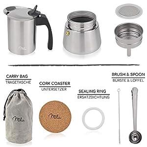 Milu Espressokocher Induktion geeignet,   2, 4, 6 Tassen  Edelstahl Mokkakanne, Espressokanne, Espresso Maker Set inkl. Untersetzer, Löffel, Bürste (Edelstahl, 4 Tassen (200ml))