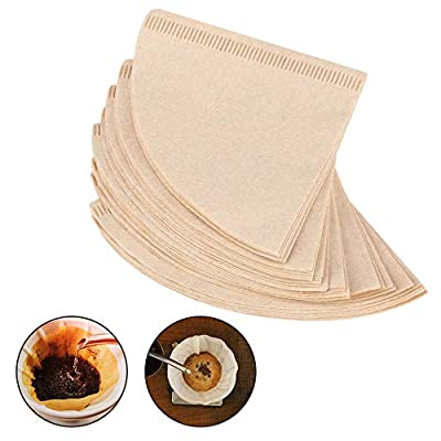 Cone Coffee Filters,Natural Brown,40Pcs Unbleached Paper,Pour Over Dripper,Drip Coffee Cup Filter Papers,Disposable Coffee Filters(V01)