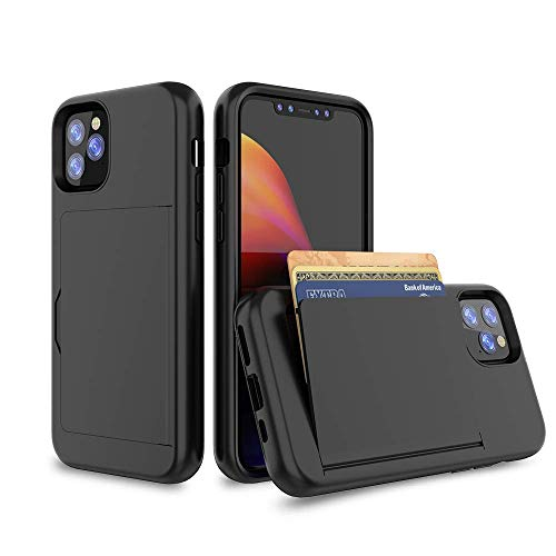 iPhone 12 Case, Erudite iPhone 12 Cell Phone Wallet Case Cover Credit Card Holder Flip Case Full Body Best Protective Soft Hybrid TPU Hard Durable No Scratch Shockproof for iPhone 12 Pro 6.1 (Black)