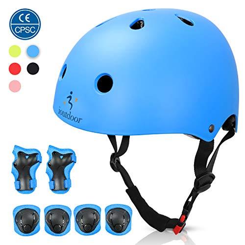 ioutdoor Kinderhelm, Fahrradhelm Einstellbar für Kleinkinder, Jungen, Mädchen, Jugendliche, CPSC-Zertifiziert, Schutzausrüstung, für Radfahren, Skaten, Snowboarden (Blau mit Schutzausrüstung, S)