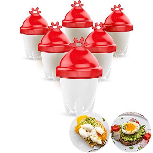 Aribest Easy Eggs Eierkocher,Hard Boiled Egg Cooker,Silicone Egg Boil Egg Maker,FDA Antihaft-Silikon,BPA-frei,New Version!6 Stück,