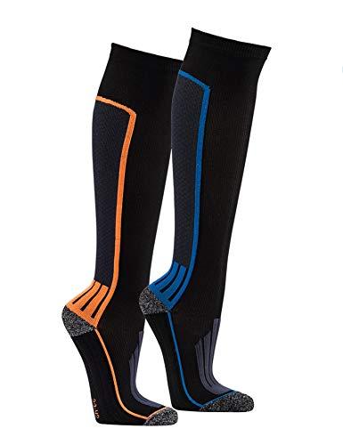 PistenSauser 2 Paar Coolmax Sportfunktions-Kompressions-Strümpfe auch als Skisocken geeignet (Blau, 39/42)