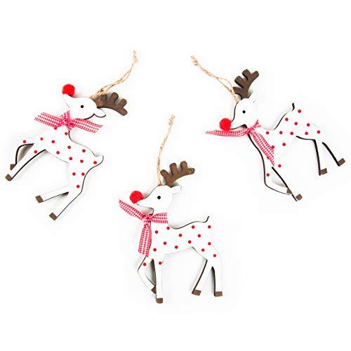 Logbuch-Verlag 3 colgantes de reno con cuerda, color rojo y blanco, con puntos, para regalo, decoración de árbol de madera, decoración de Navidad, regalo