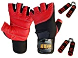Weight Lifting Gloves - Soft Leather Gym Gloves With Wrist Support + Double Stitched Fingers And Palm - Breathable Mesh Lycra On Back + Easy Open Finger Tab Size Adjuster Double Stitched, 4-way Stretch Mesh, Half Finger Length, No Sweat, Extra Foam Padded, Combo pack with wooden hand grip set (Red)