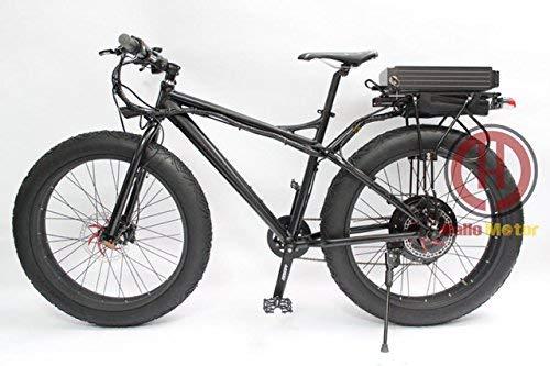 HYLH Potente neumático Gordo 48V 1000W 26'Total Negro Bicicleta eléctrica Snow Ebike Soporte Trasero 48V 20AH Batería de Litio Rueda Multicolor