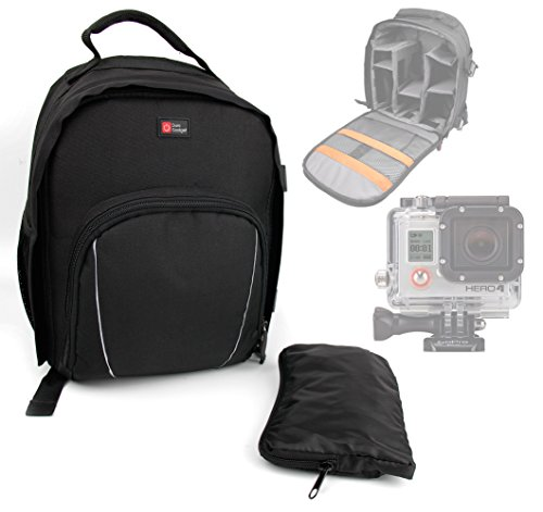 DURAGADGET Mochila para La Nueva Cámara GoPro Hero HD 4 (Silver/Black Edition) + Funda Impermeable - con Compartimentos para Accesorios - Resistente
