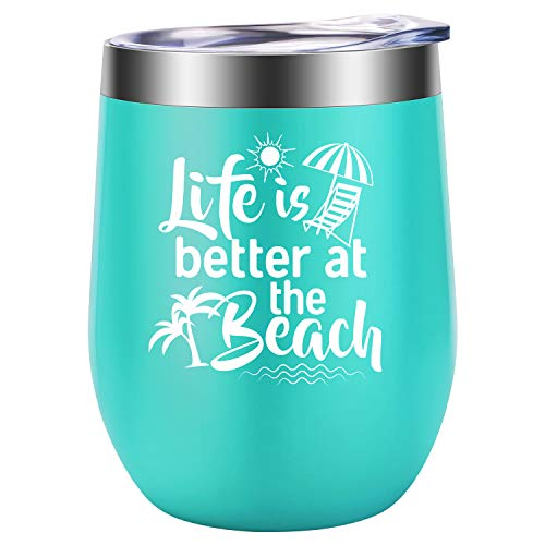 wine cup for beaches Beach Gifts for Women - Life is Better at the Beach - Funny Birthday, Christmas Wine Gift for Women, Wife, Mom, Grandma, Best Friend, Coworker, Sea Lover for RV, Boating, Camping - LEADO Wine Tumbler