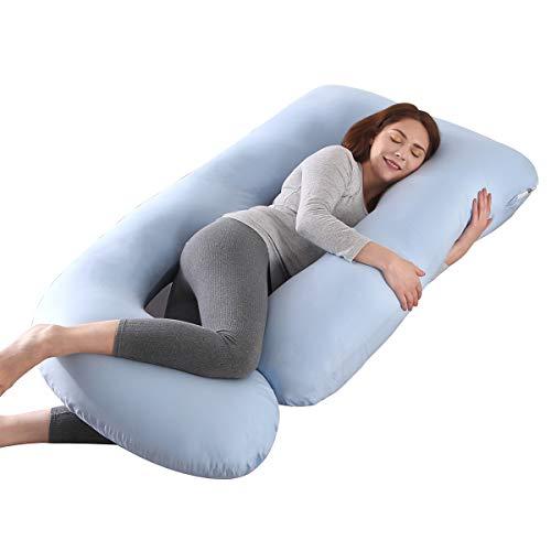 SHANNA Cuscino Gravidanza Cuscino Gravidanza per Dormire Cuscino per Tutto Il Corpo Supporto per Aggiornamento a Forma di U per Schiena Fianchi Gambe Pancia per Donne Incinte(Blu)