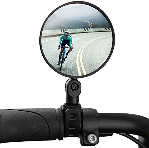 Teamkio Fahrradspiegel Fahrrad Rückspiegel, 360 °Drehbar Einstellbar Radfahren Rückspiegel Weitwinkel-Planspiegel Sicherer Fahrradspiegel Schwarz