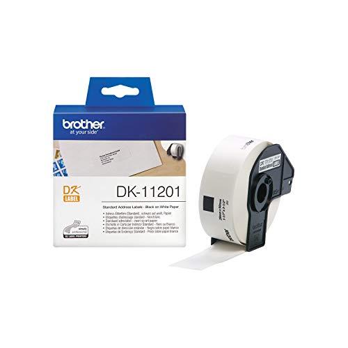 Brother DK-11201 Einzeletiketten (29 x 90 mm, 400 Stück/Rolle, für Brother QL-Etikettendrucker) weiß