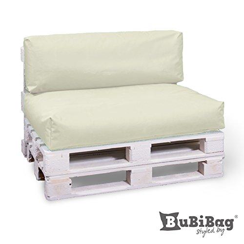 BuBiBag Palettenkissen Sitzkissen Sitzauflage In & Outdoor, Diverse Farben zur Auswahl & viele Größen (80x60x15, Beige)