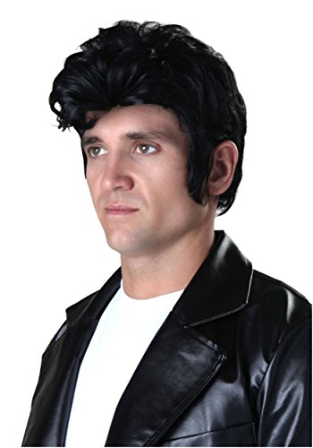 Adult Deluxe Grease Danny Black Wig with Sideburns Standard