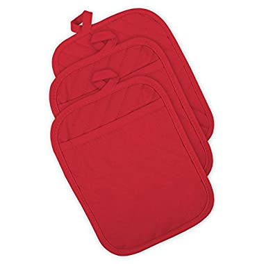 DII Cotton Quilted Pocket Pot Holder, 7x9 Set of 3, Heat Resistant Machine Washable Kitchen Trivet Hot Pads for Cooking & Baking-Tango Red