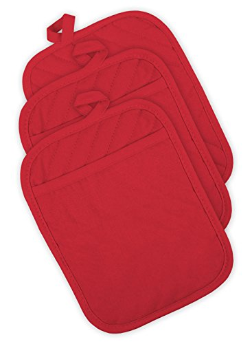 DII Cotton Quilted Pocket Pot Holder, 7x9' Set of 3, Heat Resistant Machine Washable Kitchen Trivet Hot Pads for Cooking & Baking-Tango Red
