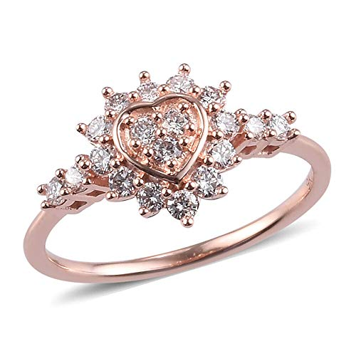 TJC Pink Diamond I2-I3 Cluster Ring for Womens Wedding/Anniversary Jewellery in 9ct Rose Gold SGL Certified Size O April Birthstone, TCW 0.5ct.