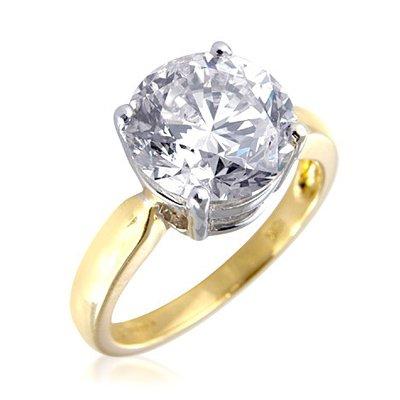 Anello di fidanzamento in oro giallo 18 kt con diamante solitario rotondo da 5 carati e Oro giallo, 56 (17.8), cod. XYR7020(YG)O