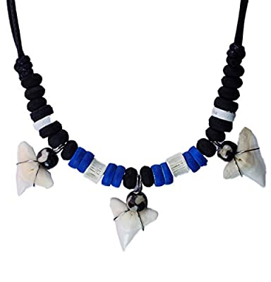 exoticdream Shark Tooth Wood Beads Necklace Handmade Hawaiian Style Beach