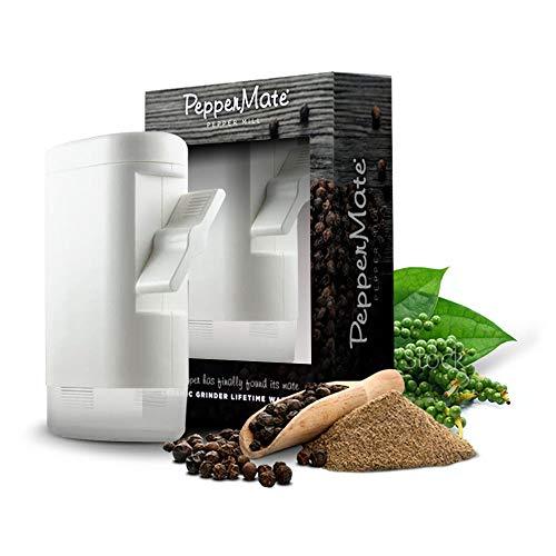 PepperMateTraditionalPepperMill723 - TurnkeyHighVolumeSaltandGourmet Peppercorn Grinder (White)
