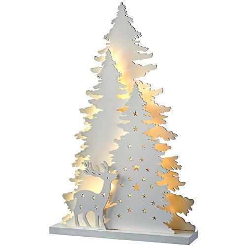 WeRChristmas – Albero E Renna Scene Decorazione Della Tavola Di Natale, Legno, 46 Cm – Bianco