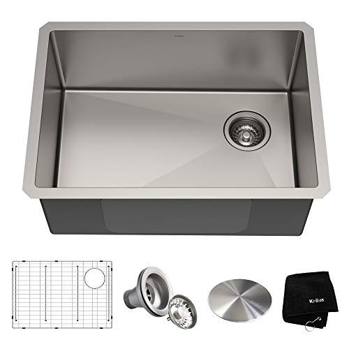 Kraus KHU111-25 Standart PRO 16 Gauge Undermount Single Bowl Stainless Steel Kitchen Sink, 25 Inch