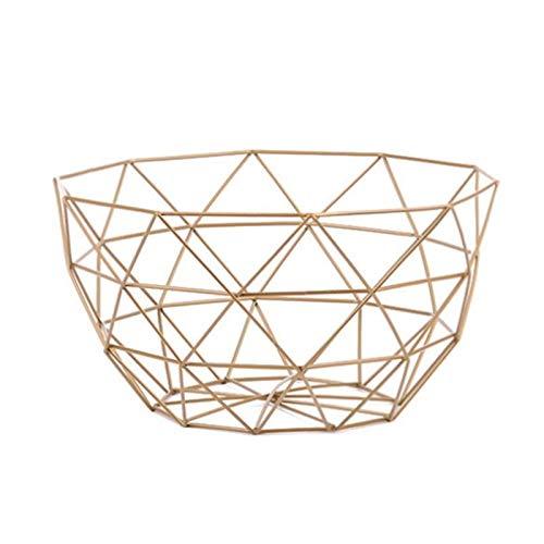 Haoooanzwl Caisse Rangement Basket de Rangement Golden Alliage Art Snack Candy Panier de Fruits pour la Chambre survivante Panier de Rangement de Cuisine