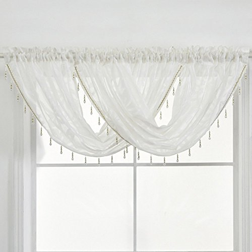 NAPEARL Beaded Kitchen Window Valance Curtains-Rod Pocket Waterfall Swag Curtains, Premium Jacquard Sheer Valance for Bathroom Small Window, 1 Piece ( 57 x 37 in, White )